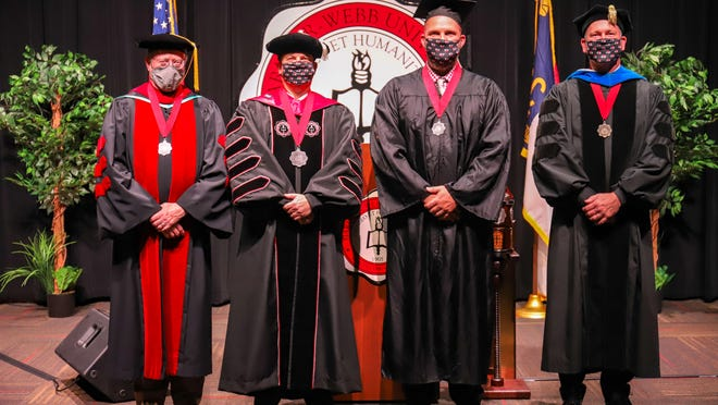 Leading Gardner-Webb's virtual graduation will be (from left) Ben Leslie, provost and executive vice president for Gardner-Webb University, University President William Downs, Clayton King, '95 founder and president of Crossroads Summer Camps, Crossroads Missions and Clayton King Ministries, and Tracy Jessup, vice president for Christian Life and Service, Senior Minister to the University.