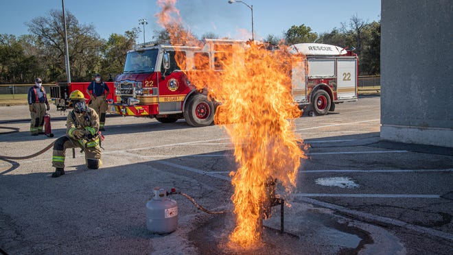 Austin firefighters demonstrate how cooking a turkey in a deep fryer can cause a fire if done improperly.