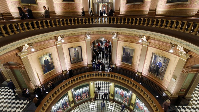 The Rotunda of the Michigan State Capitol in Lansing is shown Jan. 29 after Michigan Gov. Gretchen Whitmer delivered her State of the State address.