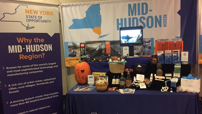 A display Wednesday, Nov. 1, advertises the Mid-Hudson Valley at a regional council meeting near the state Capitol.