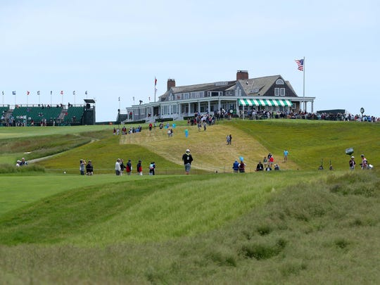 General view of the clubhouse as seen from off the 1st fairway during a practice round before the 118th U.S. Open golf tournament at Shinnecock Hills on June 11.