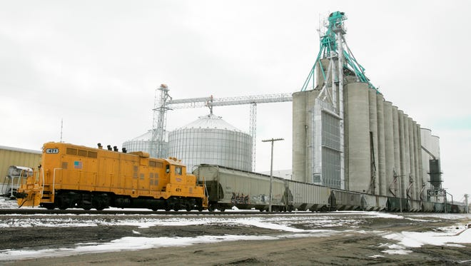 A grain elevator owned by the Frontier Cooperative loads rail cars with corn, in Mead, Neb.