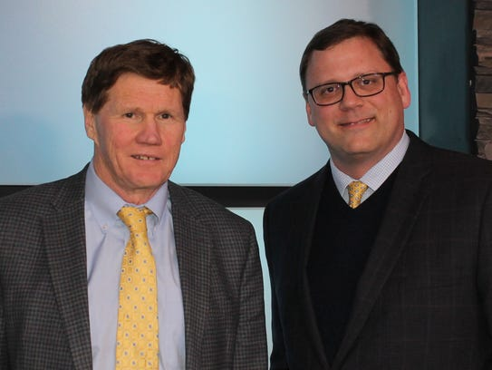 Packers President and CEO Mark Murphy, left, and Greater Green Bay Community Foundation President and CEO Dennis Buehler