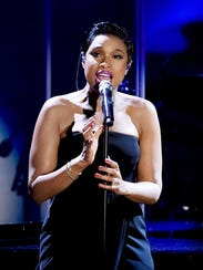 Singer Jennifer Hudson performs in Beverly Hills, Calif.