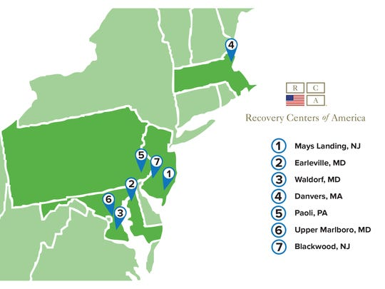 A map provided by Recovery Centers of America shows planned locations for rehab facilities. Notably absent is Haddonfield.