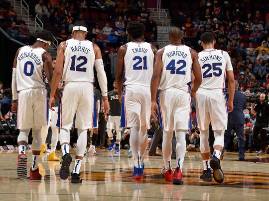 The Philadelphia 76ers walk on the court against the Cleveland Cavaliers on November 17, 2019 at Quicken Loans Arena in Cleveland, Ohio. Copyright 2019 NBAE (Photo by David Liam Kyle/NBAE via Getty Images)