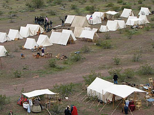 Civil War re-enactors recreate the desert camps near