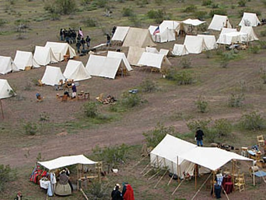Civil War re-enactors recreate the desert camps near