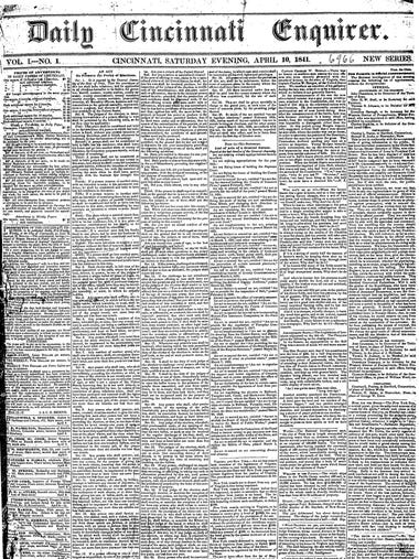 The first edition of the Cincinnati Enquirer, from