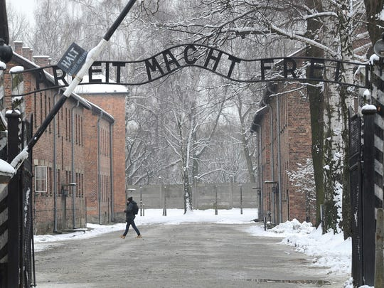 "he entrance to the former Nazi Death Camp Auschwitz with the ""Arbeit Macht Frei"" (Work Sets you Free) writing above, in Oswiecim, Poland. A Red Lion man who was arrested last week for open lewdness has dedicated his professional life to denying the Holocaust."