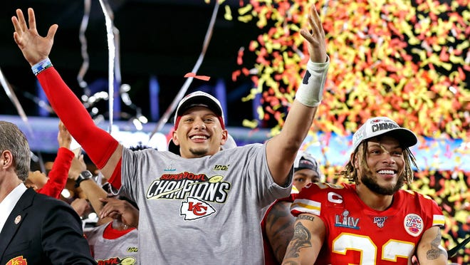 Chiefs quarterback Patrick Mahomes, left, safety Tyrann Mathieu celebrate the Super Bowl victory in February. The Chiefs, who brought back most of their title-winning roster, will be one of the favorites to win in a season affected by the coronavirus pandemic because of their stability.
