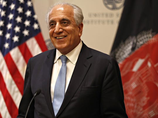 Special Representative for Afghanistan Reconciliation Zalmay Khalilzad approaches the microphone to speak on the prospects for peace, Friday, Feb. 8, 2019, at the U.S. Institute of Peace, in Washington.