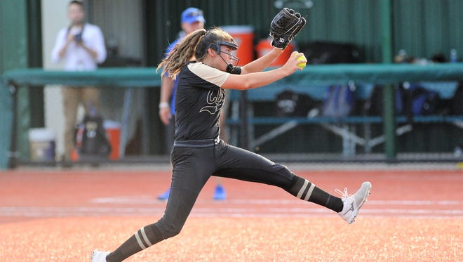 Clyde pitcher Kaitlyn Turner (5) goes through her windup during the Lady Bulldogs' 5-0 loss to Brock in Game 1 of the Region I-3A final on Thursday, May 24, 2018. The series continues Saturday at ACU at 6 p.m.