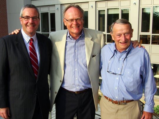 Champlain College President Donald J. Laackman (2014- to present), David F. Finney (2005-2014) and Robert A. Skiff (1977-1992.)