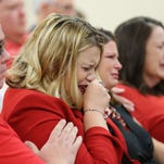 Jessica Tyrrell-Murray, daughter of slain couple Gary and Jan Tyrrell, becomes emotional during a hearing for Mark Porter on Wednesday, August 26, 2015. Porter pleaded guilty to killing the Tyrrells in their Springfield home in 2014.