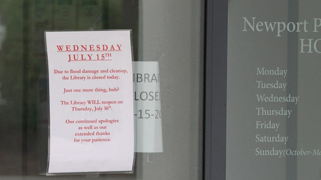 The Newport Public Library was closed last week due to flooding.
