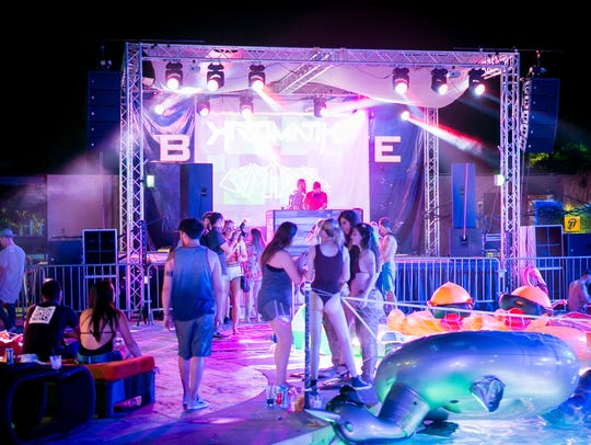 The poolside scene at Bass Splash at BLK Live in Scottsdale