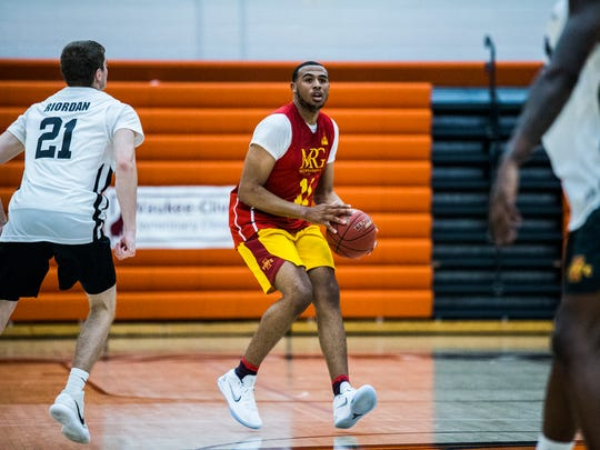 Iowa State's Talen Horton-Tucker pulls up to shoot the ball during opening night of the YMCA Capital City Men's Basketball League 2018 season on Sunday, June 17, 2018, at West Des Moines Valley High School.