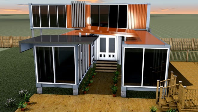 Four shipping containers will be used in the construction of Josh Atencio's home in the Town of Menasha.