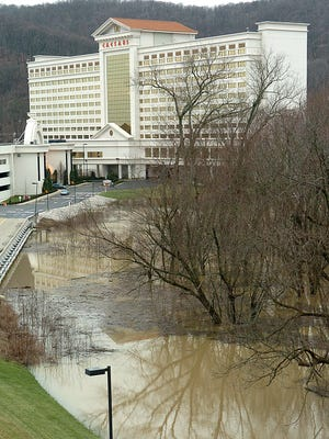 File photo of flooding near Caesars Casino and Hotel. More flooding is expected along the Ohio River in days ahead.
