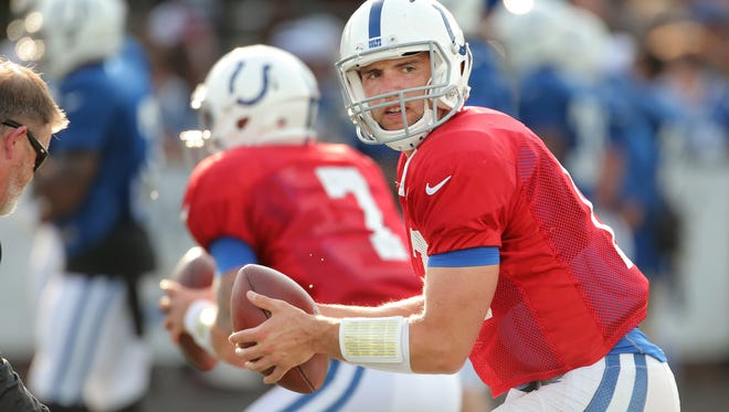 Colts quarterback Andrew Luck takes a snap during Colts training camp at Anderson University on Wednesday evening, August 5, 2015.
