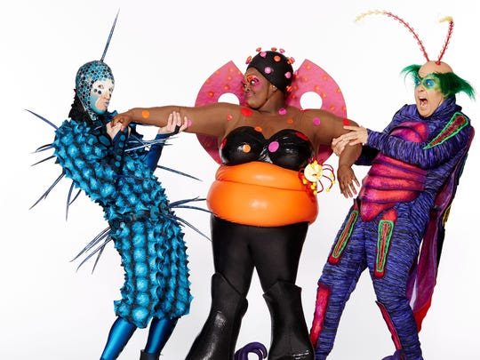 """Cirque du Soleil's """"Ovo"""" focuses on these three characters (from left): A fly named The Foreigner, a ladybug named The Ladybug, and a beetle named Master Flipo."""