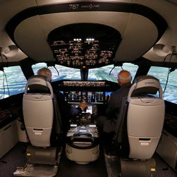 A Boeing 787 flight simulator at the Boeing Flight Services Miami campus.
