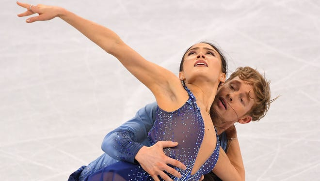Ice dancers Madison Chock and Evan Bates of the USA during figure skating training for the Pyeongchang 2018 Olympic Winter Games at Gangneung Ice Arena.