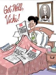 """Editorial cartoonist Jeff Parker crafted this get-well card for Vicki Reid in 2007, one signed by her FLORIDA TODAY colleagues. """"Vicki was a wonderful, fun, funny soul. I'm very lucky to have shared the op/ed pages with her smart and dead-center work,"""" Parker said."""