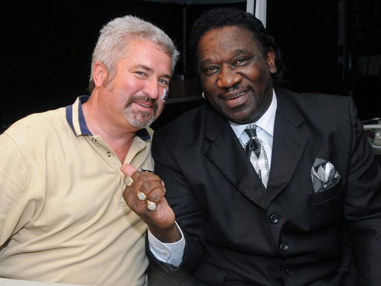"John Huggins and Larry ""Mud"" Morganfield at the Shenandoah Valley Blues and Virginia Brews festival in 2012."