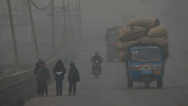 A severely polluted day in northern China in February.