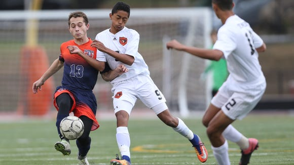 White Plains defeats Horace Greeley 1-0 in double overtime in the boys soccer Class AA semifinal match at White Plains High School on Thursday, October 26, 2017.