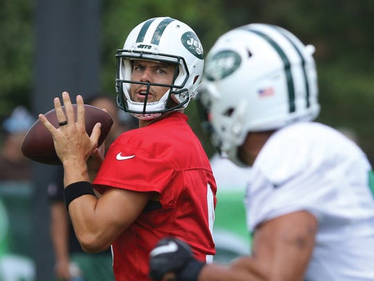 Quarterback Bryce Petty during passing drills at Jets