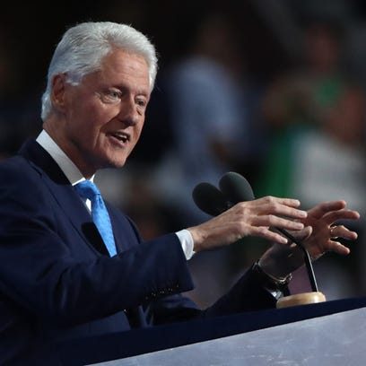 Former US President Bill Clinton delivers remarks on