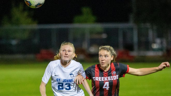 Creekside senior Delaney Tauzel (4) and St. Johns Country Day's Savannah Berrang vie for a header during a Jan. 7, 2020 contest. Tauzel was named a 2020 All-American by the United Soccer Coaches on July 9.