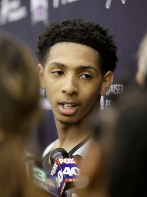 Murray State point guard Cameron Payne talks with reporters after a workout with the Sacramento Kings in Sacramento, Calif., Thursday, June 11, 2015. The Kings have the sixth position in the NBA basketball draft