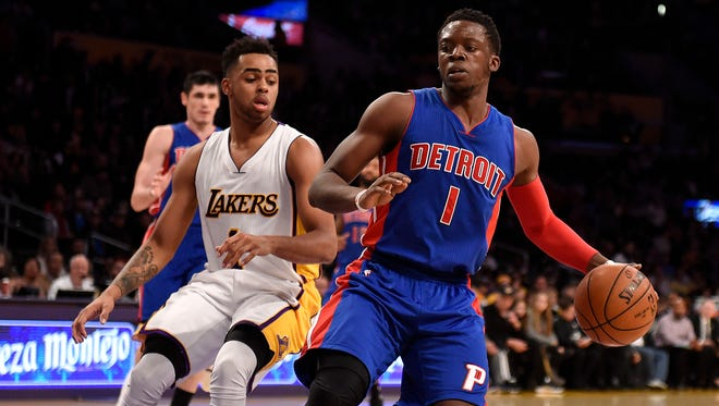 Pistons guard Reggie Jackson handles the ball against Lakers guard D'Angelo Russell at Staples Center on Nov. 15, 2015.