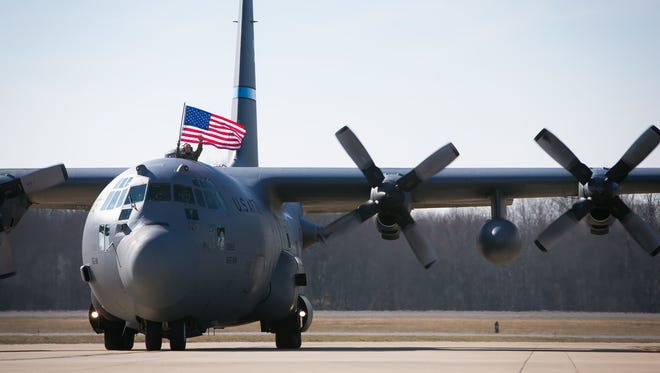 Approximately 60 Airmen with the 166th Airlift Wing of the Delaware Air National Guard return home to New Castle from a 120-day deployment to the Middle East.