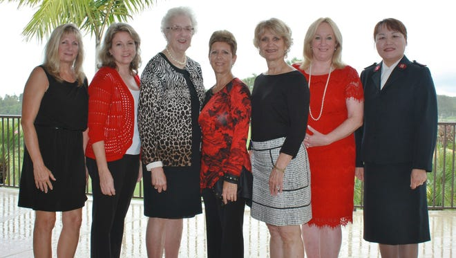 Wings of Hope Luncheon Committee members, from left, Beth Mistarz, Kim Johnson, Women's Auxiliary President Muriel Franz, Elise Natoli, luncheon co-chairs Vicki Davis and Carolyn Timmann, and Salvation Army of Martin County Capt. Christine Kim promise a top-drawer event on Nov. 13.