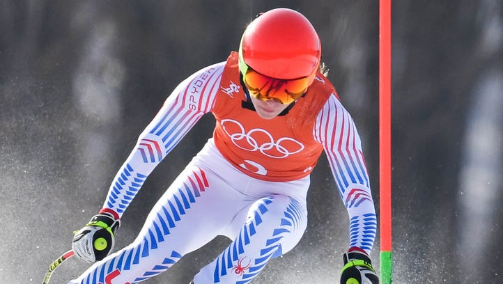 Mikaela Shiffrin in the slalom portion of the Alpine
