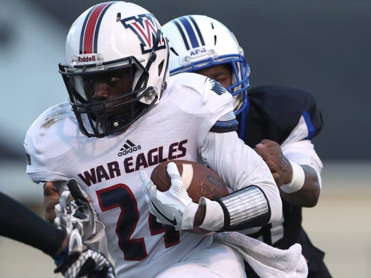Wakulla's Jamey Harvey made 12 tackles and created two turnovers in a 26-0 win at Ribault last Friday.