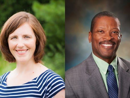 Kate Flores, left, and Dean Newsome