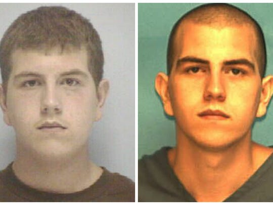 Jacob Brighton pictured at age 16, left, and at 26.