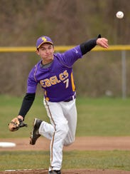 Plymouth Christian pitcher Tanner Hay throws the ball