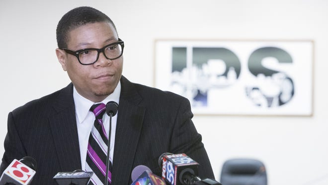 "IPS Superintendent Lewis Ferebee presented his plan for creating a ""transformation zone"" to help failing schools in an appearance Wednesday before the Indiana Board of Education.   Here he is shown in March 2014 addressing the media about IPS' budget."
