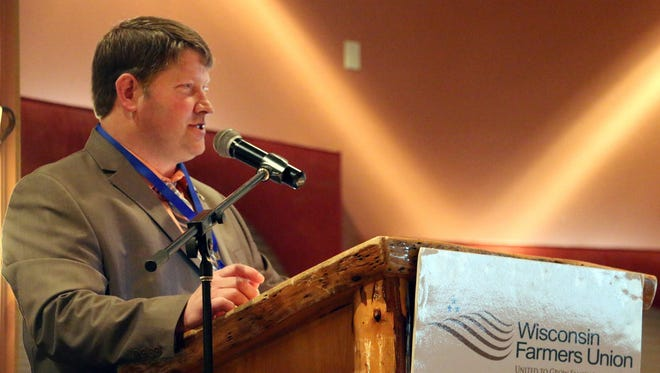 Wisconsin Farmers Union President Darin Von Ruden gave his address Feb. 3 at the family farm organization's 87th Annual State Convention.