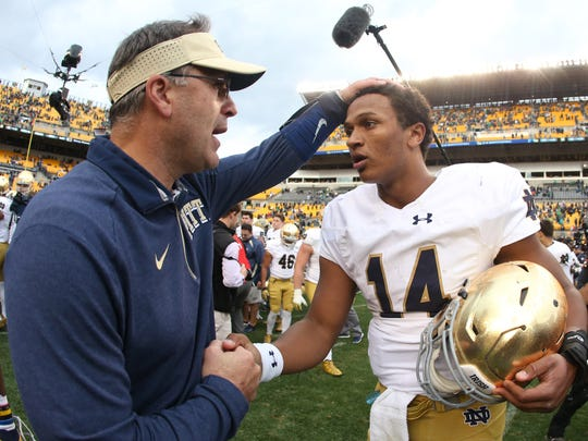Notre Dame quarterback DeShone  Kizer and Pittsburgh coach Pat Narduzzi shake hands after this year's game at Heinz Field.