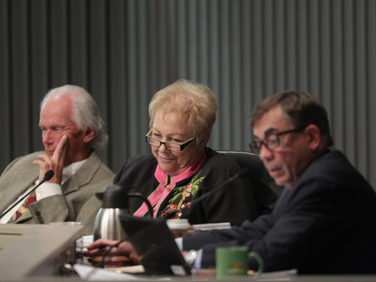 From left, Palm Springs City Council members Chris Mills, Ginny Foat and Mayor Robert Moon.