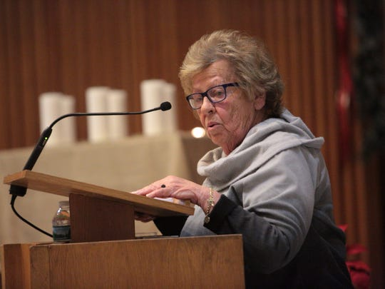 NJ Senate Majority Leader Loretta Weinberg, speaks during a ceremony at Central Unitarian Church in Paramus. The ceremony was held in remembrance of the five year of the Sandy Hook Elementary School tragedy, on Sunday, Dec. 17, 2017.