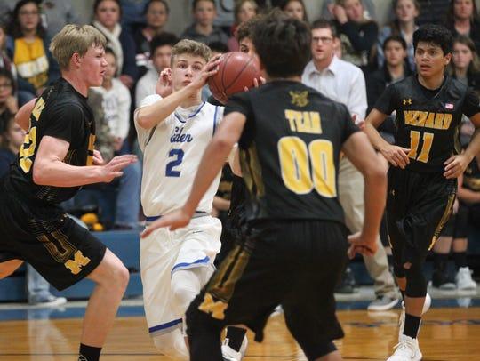 Eden High School's Joshua Meck (2) hit 3 of the Bulldogs'